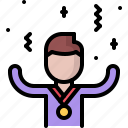 business, corporation, medal, office, reward, success, victory icon