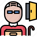 business, corporation, door, man, office, old, retirement icon
