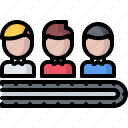 business, conveyor, corporation, human, job, office, resource icon