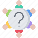 business, corporation, discussion, job, meeting, office, question icon