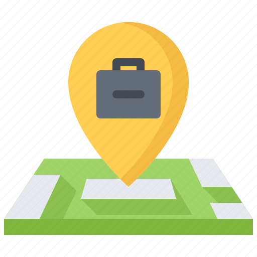 business, corporation, job, location, map, office, pin icon