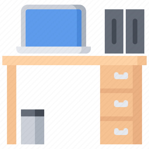 business, corporation, job, laptop, office, table, workplace icon