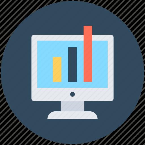 bar chart, bar graph, business chart, monitor, online graph icon