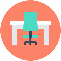 desk drawer, office chair, office desk, office table, study desk icon