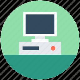 computer, desktop computer, microcomputer, pc, personal computer icon