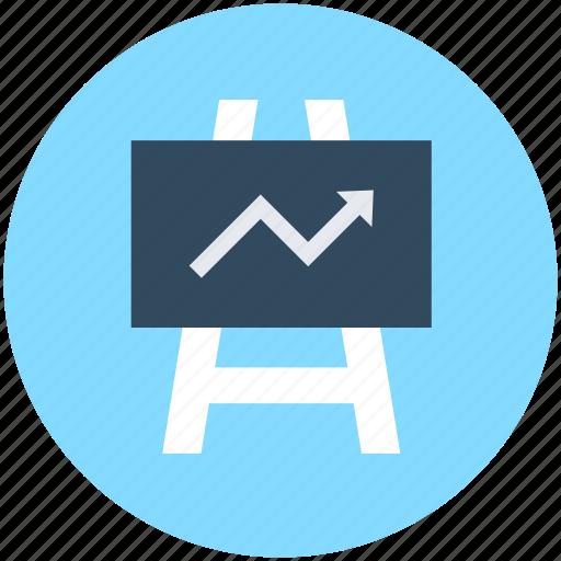 Business presentation, chalkboard, easel, graph presentation, presentation board icon - Download on Iconfinder