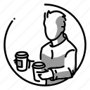 break, coffee, employee, illustration, man, person, rest icon