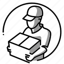 delivery, person, illustration, employee, man, box, post