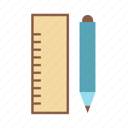 pencil, ruler, stationery icon