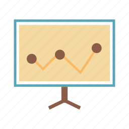 board, graph, line graph, presentation, report, statistics icon