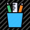 case, pen, pencil, ruler, stationery