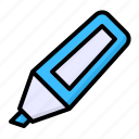 highlight, highlighter, highlighter pen, marker, office, pen, stationery icon