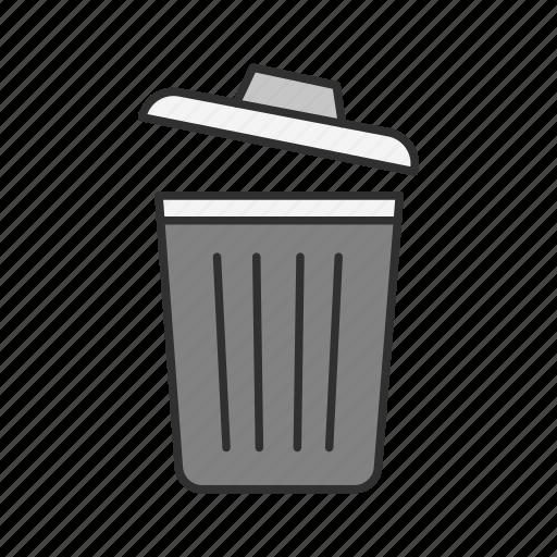 bin, delete, erase, trash icon