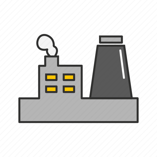 buidling, factory building, industrial buidling, smoking building icon