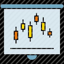 analysis, business, market, plot, presentation, slide, trend icon