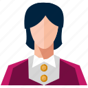 avatar, bank, business, finance, marketing, office, woman icon