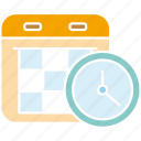 calendar, clock, manage, schedule, time icon