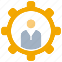cogwheel, gear, man icon