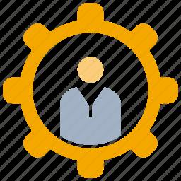 cogwheel, gear, man icon