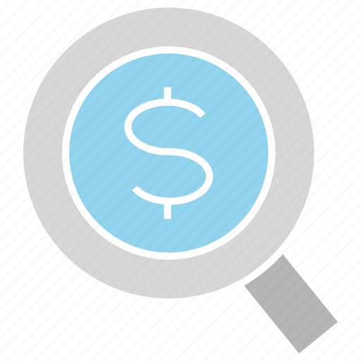 magnifier glass, money, search icon