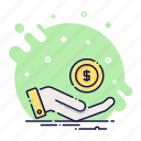 cash, coin, finance, hand, money, payment, wealth icon