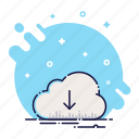 arrow, cloud, data, down, download, file, load icon