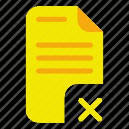 delete, document, trash icon