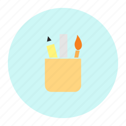brush, pen, penpencilbrush, ruler, scale icon