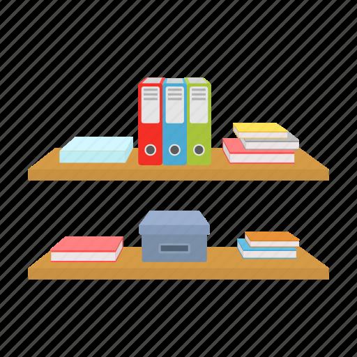 document, equipment, furniture, interior, office, paper, shelf icon