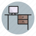 desk, office, screen, table, workplace, workspace icon