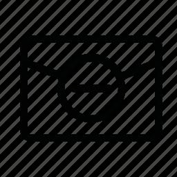 close, file, letter, mail, minus icon