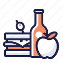 apple, bottle, drink, food, lunch, meal, sandwich icon