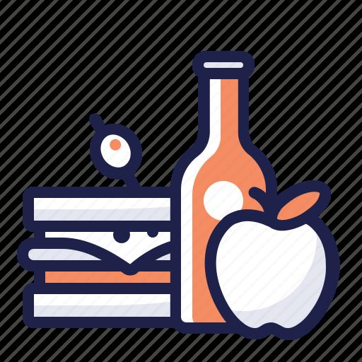 apple, bottle, drink, food, lunch, meal, sandwich icon