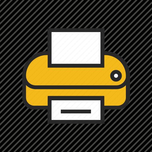 document, ink, machine, paper, printer, printout, technology icon