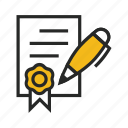agreement, contract, deal, document, paper, partner, pen, sign, signature icon