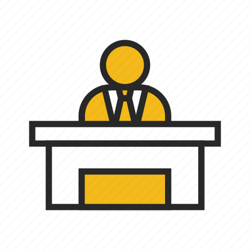 desk, front, office, receptionist, service, staff, table icon