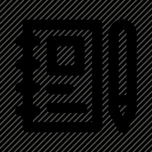 content, notebook, pen, pencil, write icon