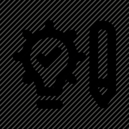 bulb, creative, edit, idea, pencil icon