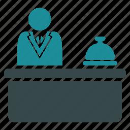concierge, desk, hotel reception, lobby, manager, motel, service icon