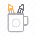 cup, office, pen, pencil, stationary