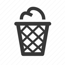 garbage bin, office supplies, raw, simple, trash, trash bin, trash can, wastepaper basket icon