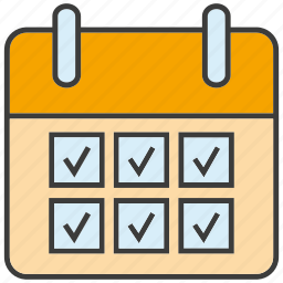 date, list, office, schedule, table, tick icon