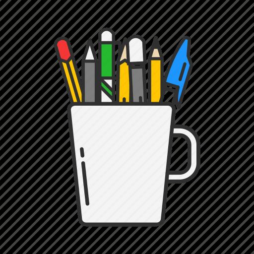 mug, office, pens, pens in a mug icon