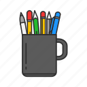 mug, office, pens, pens in a mug icon
