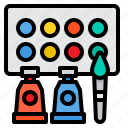watercolors, art, color, palette, paint, brush, painting