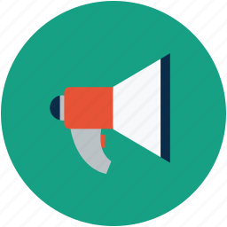 attention, bullhorn, loud, loud hailer, megaphone, speaker, speaking trumpet icon