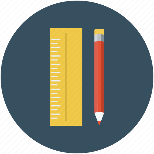 color fill, pencil, pencil with ruler, ruler, ruler scale, scale icon