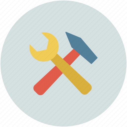 hammer and spanner, hammer and wrench, hand tool, repair, settings, tools icon