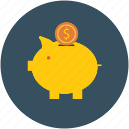 coins, dollar sign, guardar, money, piggy, piggy bank, save, savings icon