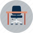armchair, chair, chair and table, school table, study table, swivel icon